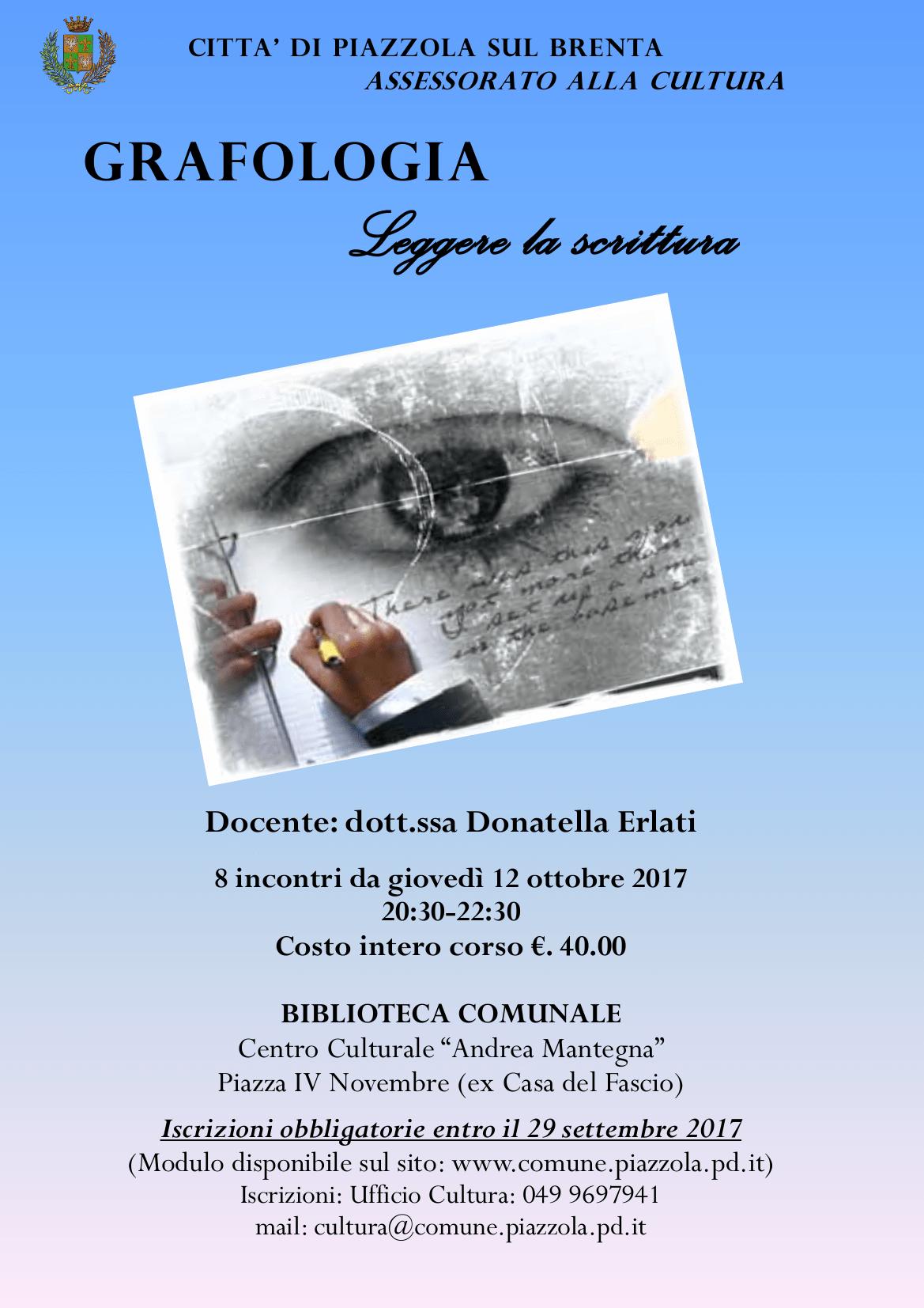 Corso di grafologia leggere la scrittura propiazzola for Fiera piazzola sul brenta 2017