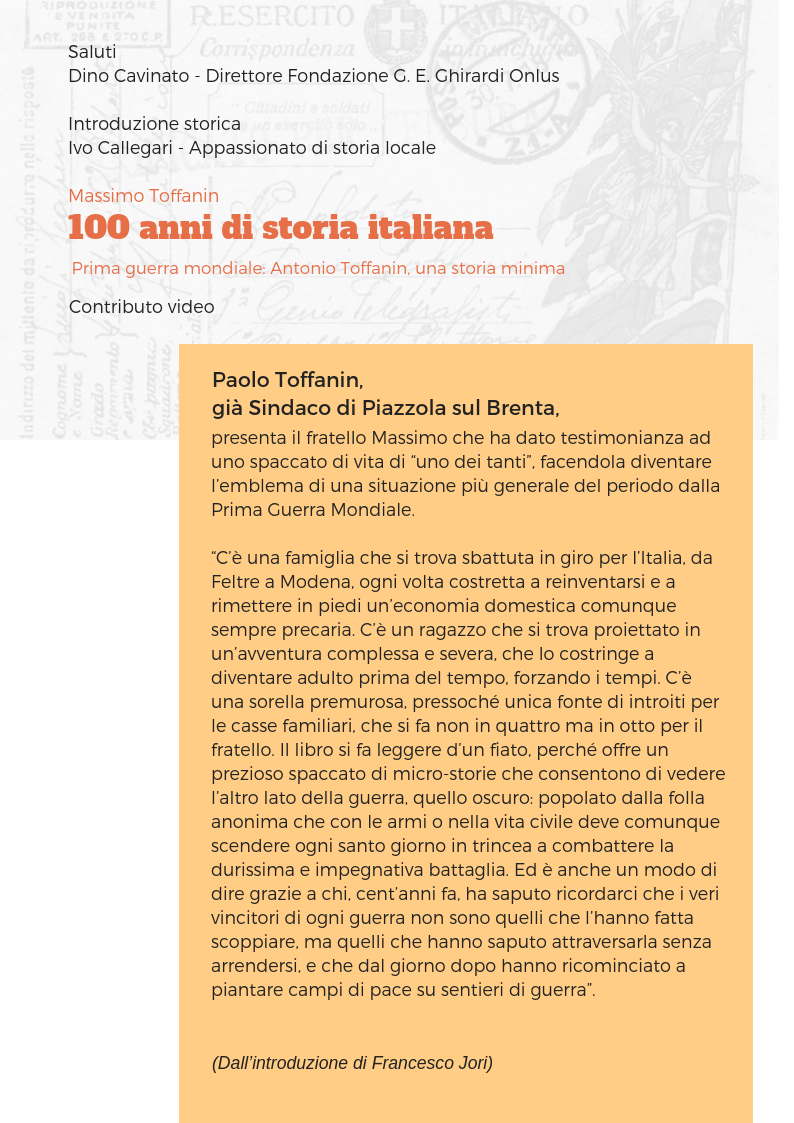 Immagine programma incontro 100 anni di storia italiana