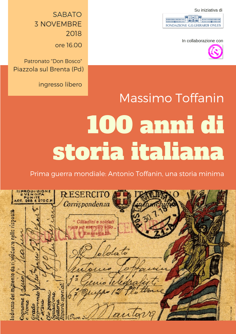 Immagine locandina incontro 100 anni di storia italiana